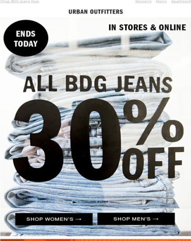 Ends Today · 30% Off All BDG Jeans   40% Off Home Sale
