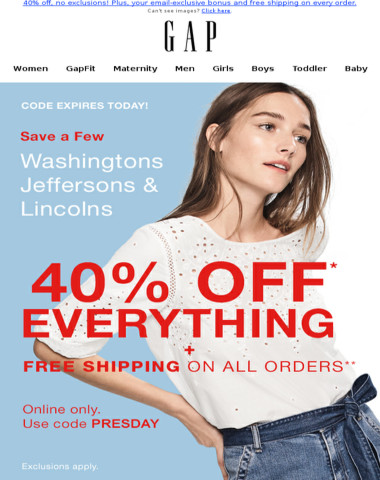 Effective immediately: 40% off EVERYTHING + FREE shipping