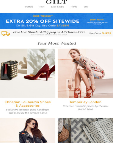 Ends Tonight: Extra 20% Off Sitewide + Christian Louboutin Shoes & Accessories, Temperley London, Lightweight Layers Feat. Bagatelle and More Start Today at Noon ET