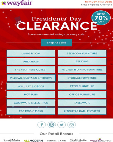 Up to 70% OFF | Presidents' Day Clearance is ON