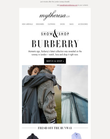 Fresh off the runway: Burberry's newest collection