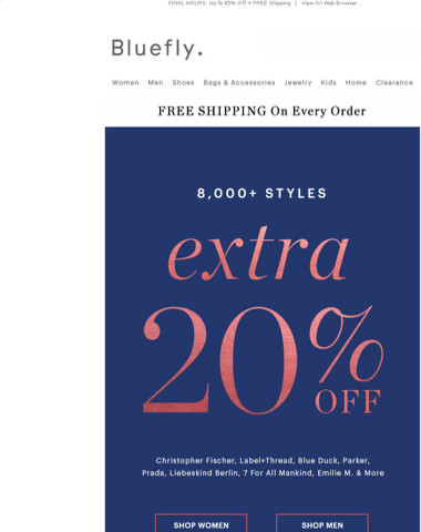 EXTRA 20% OFF 8,000+ Styles Ends Tonight!