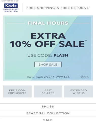 FINAL HOURS! Extra 10% off all Sale items!