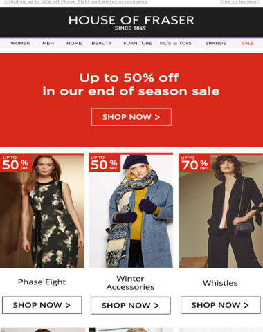 Up to 50% off in our end of season sale