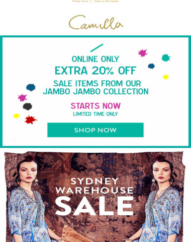 Take An Extra 20% Off Sale: Starts Now! Plus Sydney Warehouse Sale Now Open