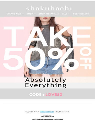 TAKE 50% OFF ABSOLUTELY EVERYTHING | CODE LOVE50