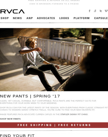 Pants for work to weekend & new RVCA OZ tour video!