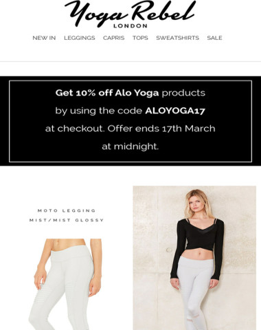 10% OFF ALO YOGA - 48 HOURS ONLY!
