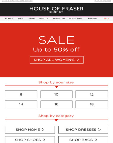 Up to 50% off | Shop sale by size
