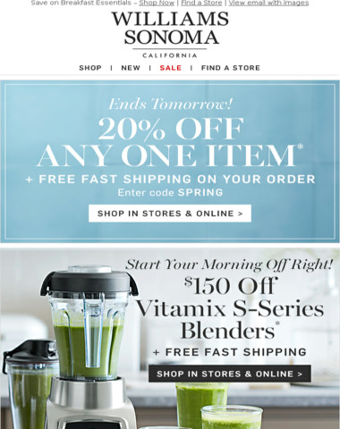 20% Off Your Favorite + Save on VITAMIX, BREVILLE, ALL-CLAD & More – In Stores & Online