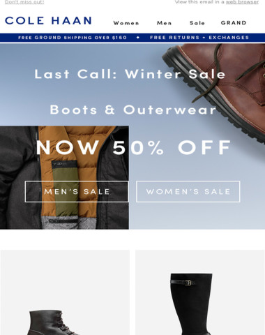 Last Chance: 50% Off Boots & Outerwear