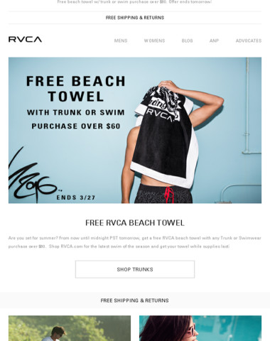 Last Day To Get A Free RVCA Beach Towel!