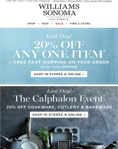CALPHALON Event + 20% Off Ends Tonight - In Stores & Online