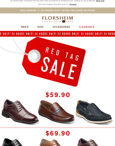 Prices as low as $59.90! RED TAG CLEARANCE SALE