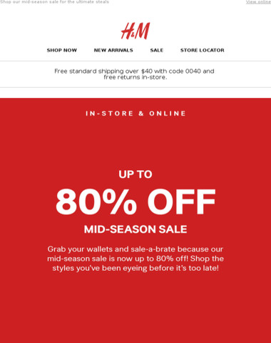 Attn: Up to 80% off in-store & online!