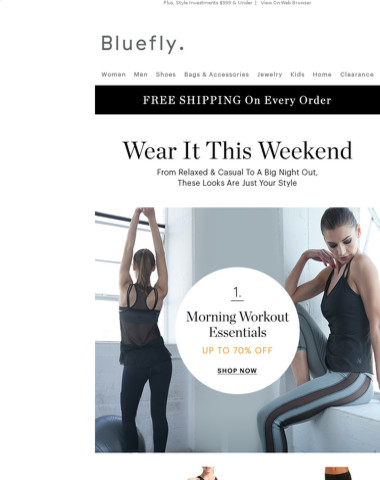 Weekend Style Guide: Up To 70% Off Workout Essentials | Up To 60% Off Brunch Looks | Up To 65% Off Night Out Style