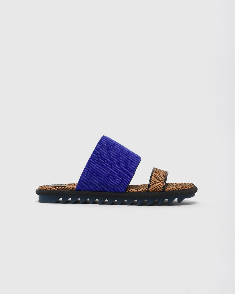 Beaded Slide in Blue by Dries Van Noten