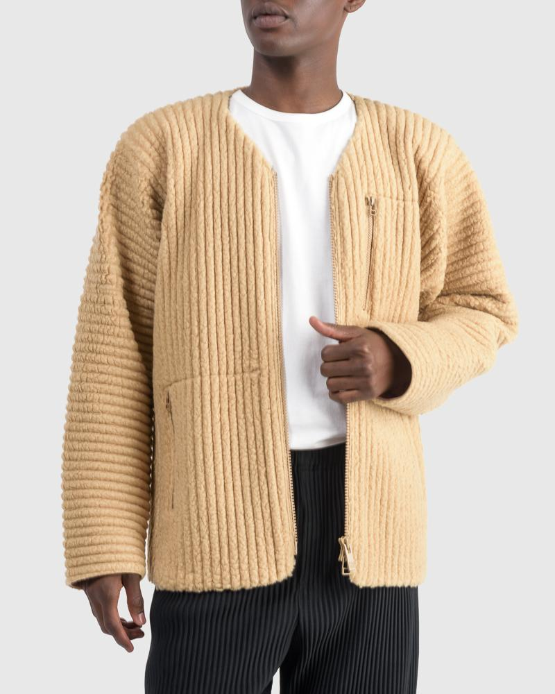 Fleece Pleated Bomber in Camel by Homme Plisse Issey Miyake