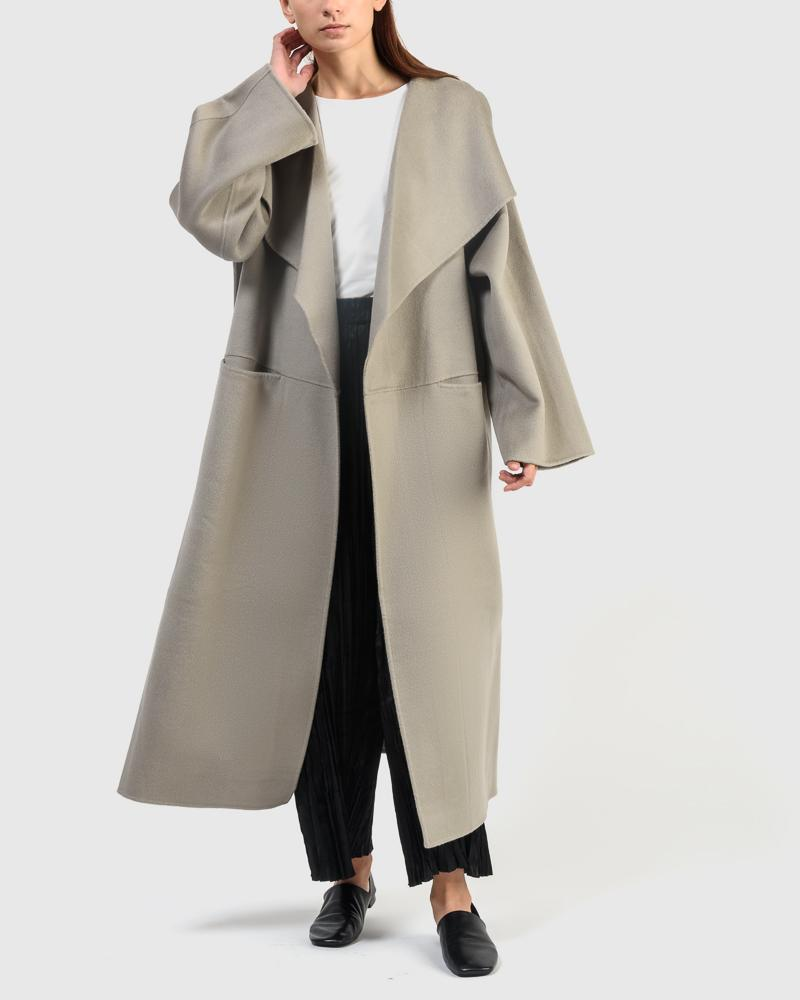 Annecy Long Coat in Elephant by Totème