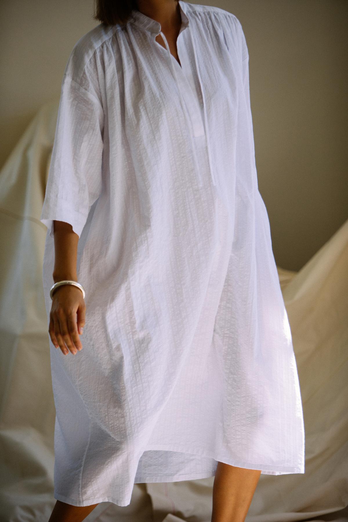 The Shima Kaftan Dress in White Stripe by SMOCK