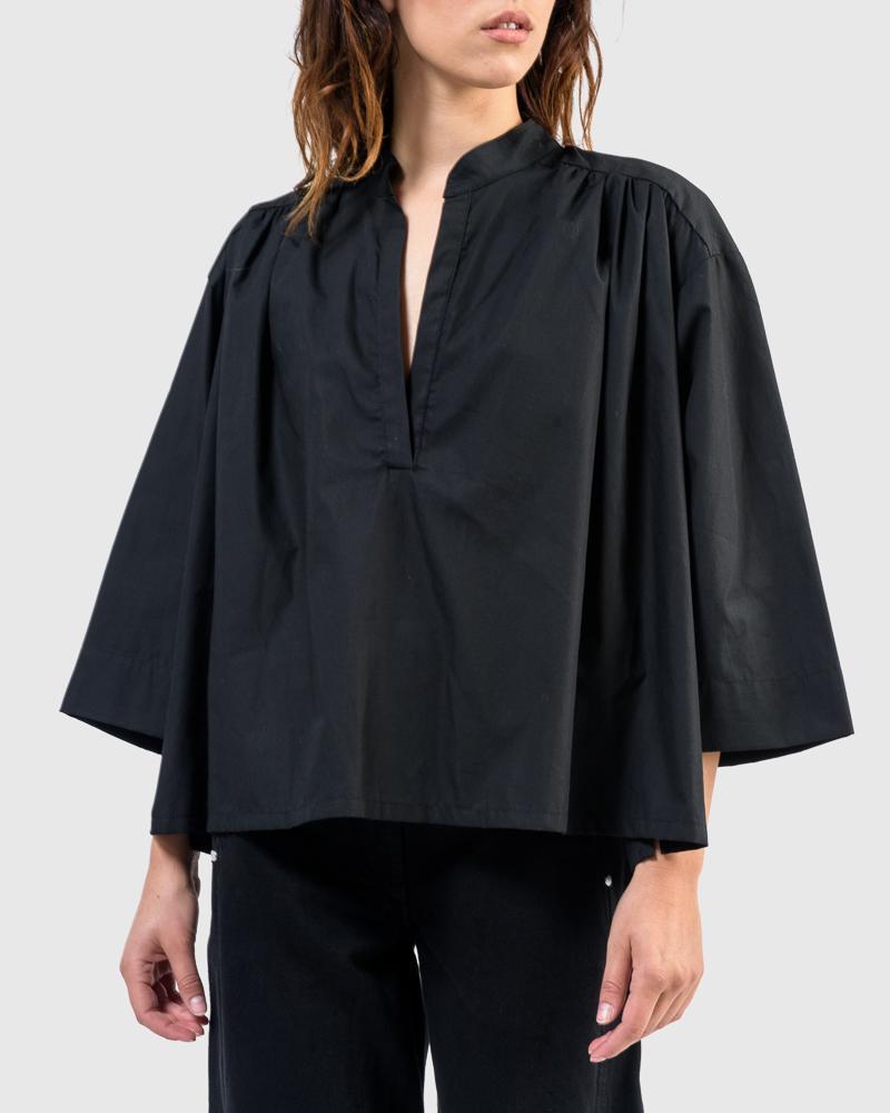 Shima Caftan Top in Black by SMOCK