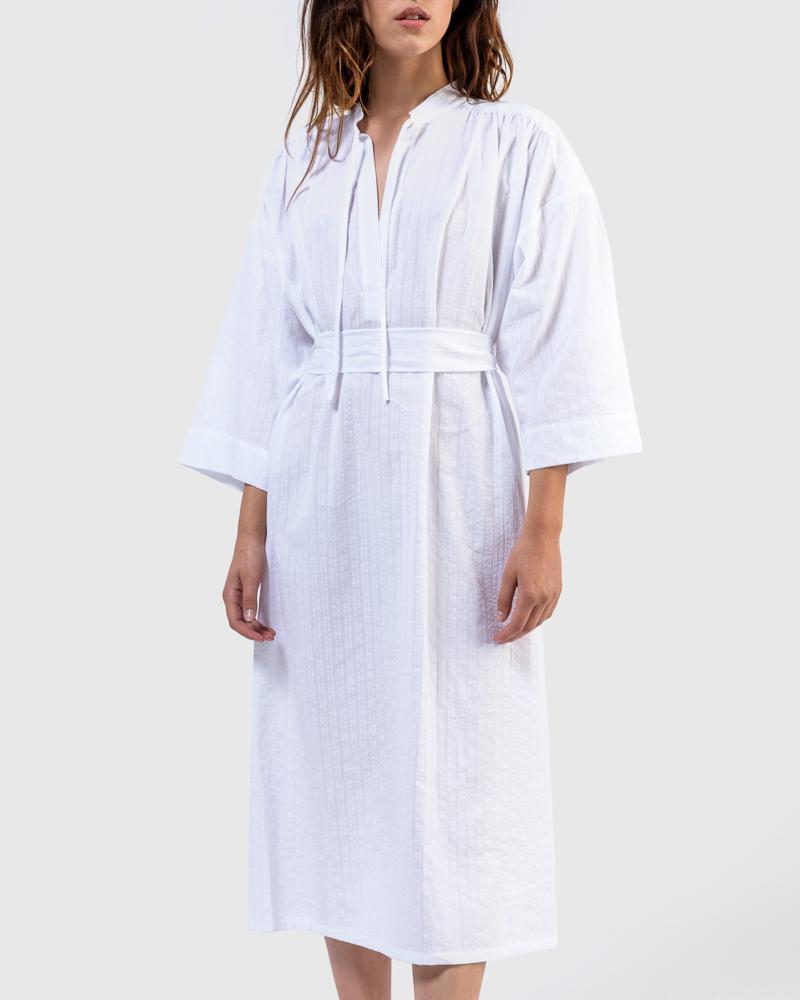 The Shima Kaftan Dress in Stripe by SMOCK