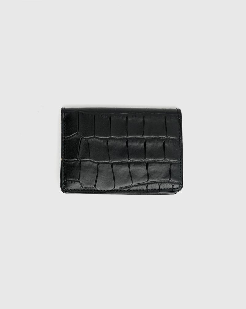 Croc Embossed Bifold wallet in Black by Dries Van Noten