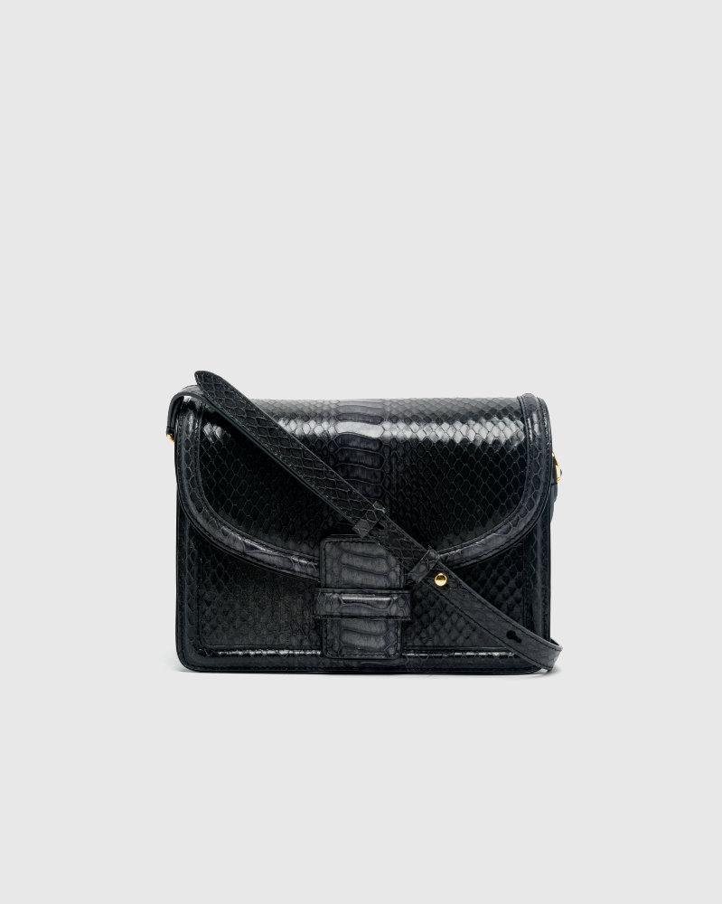 Croc-embossed leather bag in black by Dries Van Noten