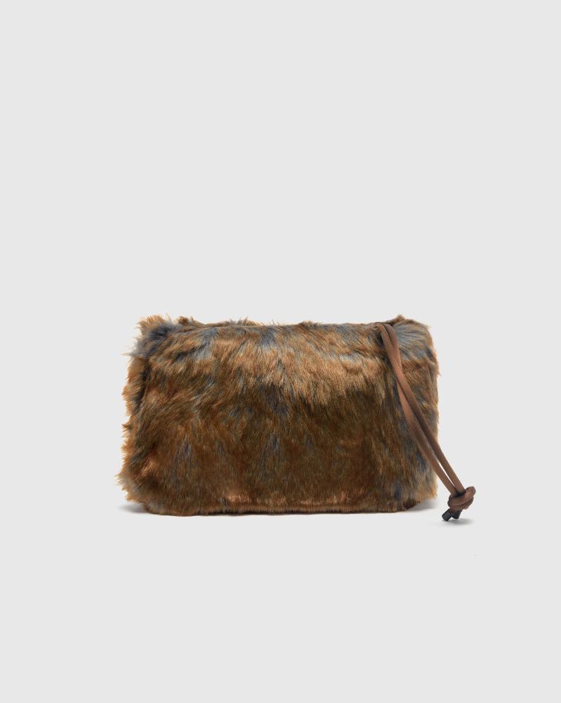 Faux Fur Tote Bag in Brown by Dries Van Noten
