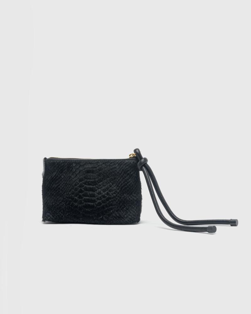 Croc-effect Pouch in Black by Dries van Noten