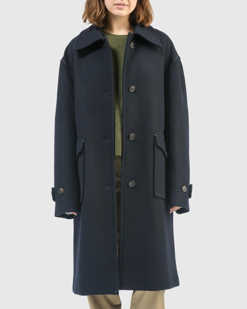 Louise Oversized Coat in Navy by Yune Ho