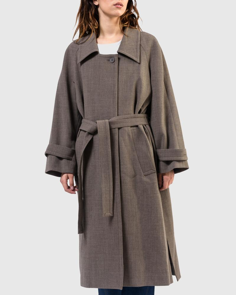 Low Collar Coat in Brown by Low Classic