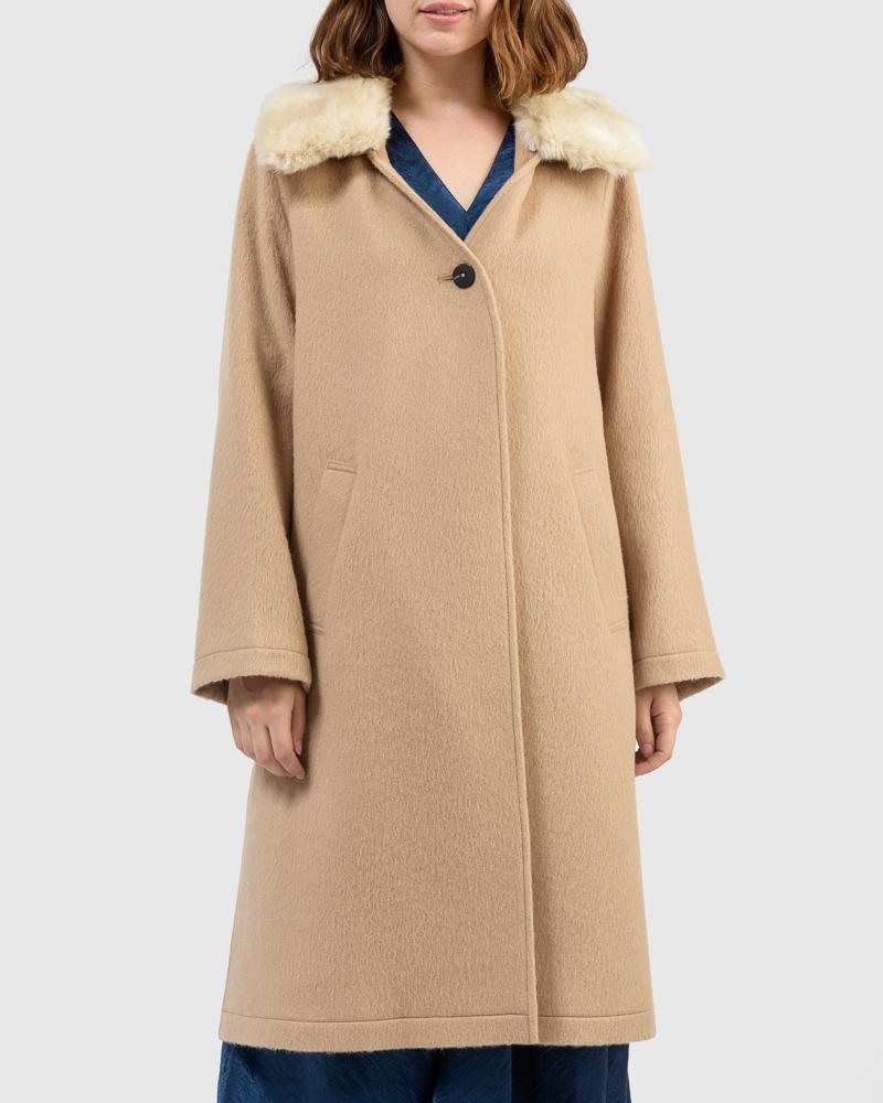 Charley Alpaca Coat in Camel by Jeana Sohn