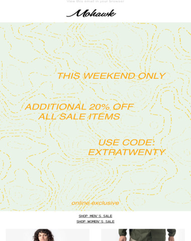 WEEKEND ONLY | Extra 20% Off Sale