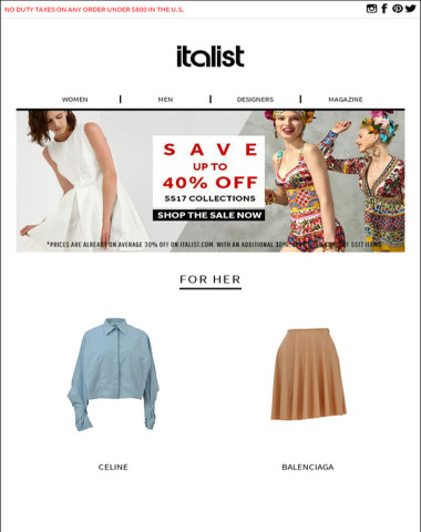 SUMMER SALE STARTED! Save up to 40% Off on SS17 Celine, Balmain and Gucci Summer Collections