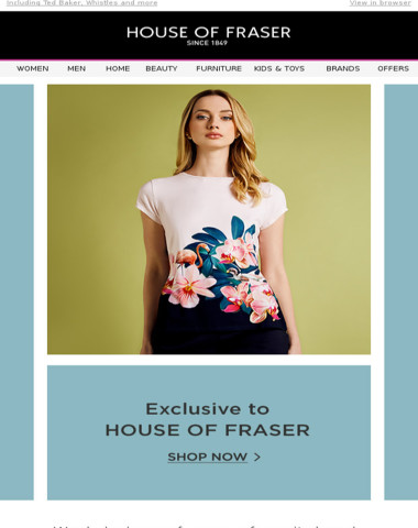 Wardrobe heroes, exclusive to House of Fraser