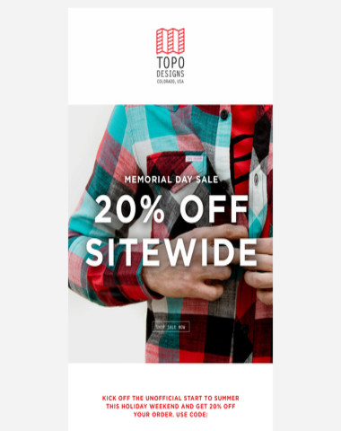 Enjoy 20% Off Sitewide now through Memorial Day