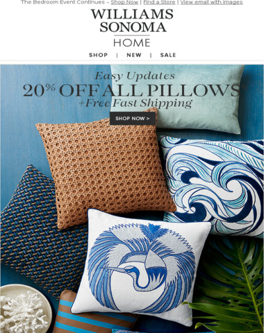 We're Sure You'll Love This: 20% Off ALL Pillows + Complimentary Shipping