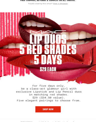 M∙A∙C Lip Duos in Reds for $29 Each! 5 Shades, 5 Days