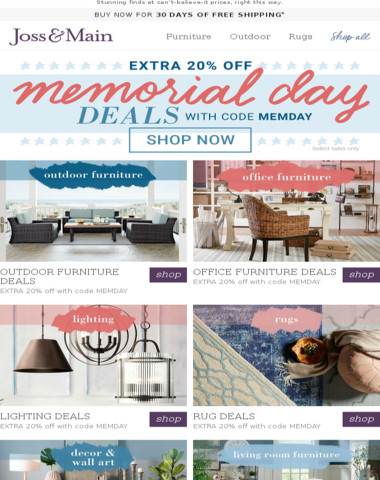 EXTRA 20% off outdoor furniture with code! Shop Memorial Day Deals >>