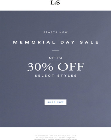 Up to 30% Off - Memorial Day Sale Starts Now