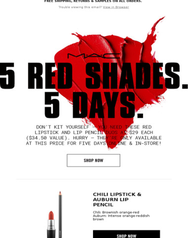 Don't Miss Out: Five Red Lip Duos for $29 Each! Five Days Only...