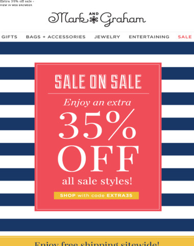 Enjoy an extra 35% off all sale styles! {Plus, free shipping sitewide!}