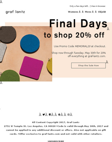 Final Days to Shop 20% Off Our Memorial Day Sale