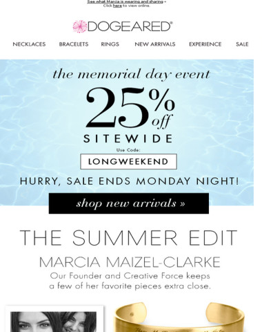 Celebrate the long weekend w/ 25% off