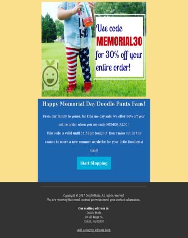 Doodle Pants One Day Memorial Day Sale!