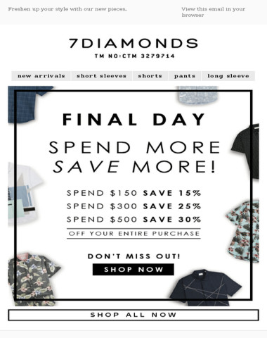 SPEND AND SAVE NOW! Up to 30% off!