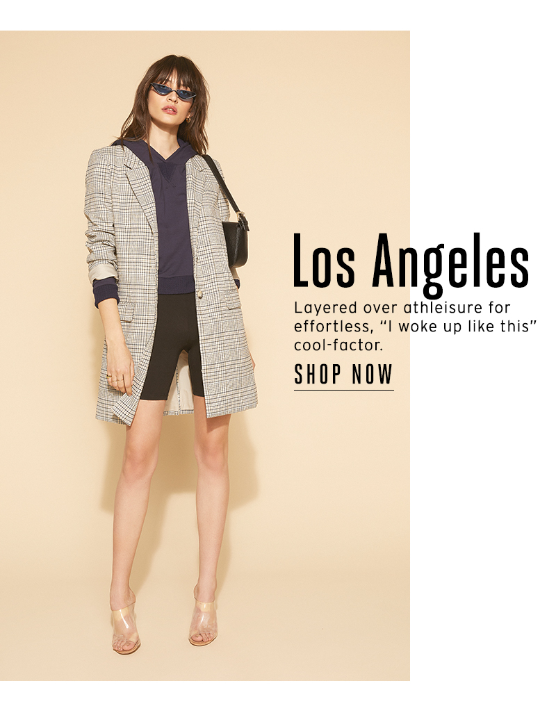 """Los Angeles Layered over athleisure for effortless, """"I woke up like this"""" cool-factor."""