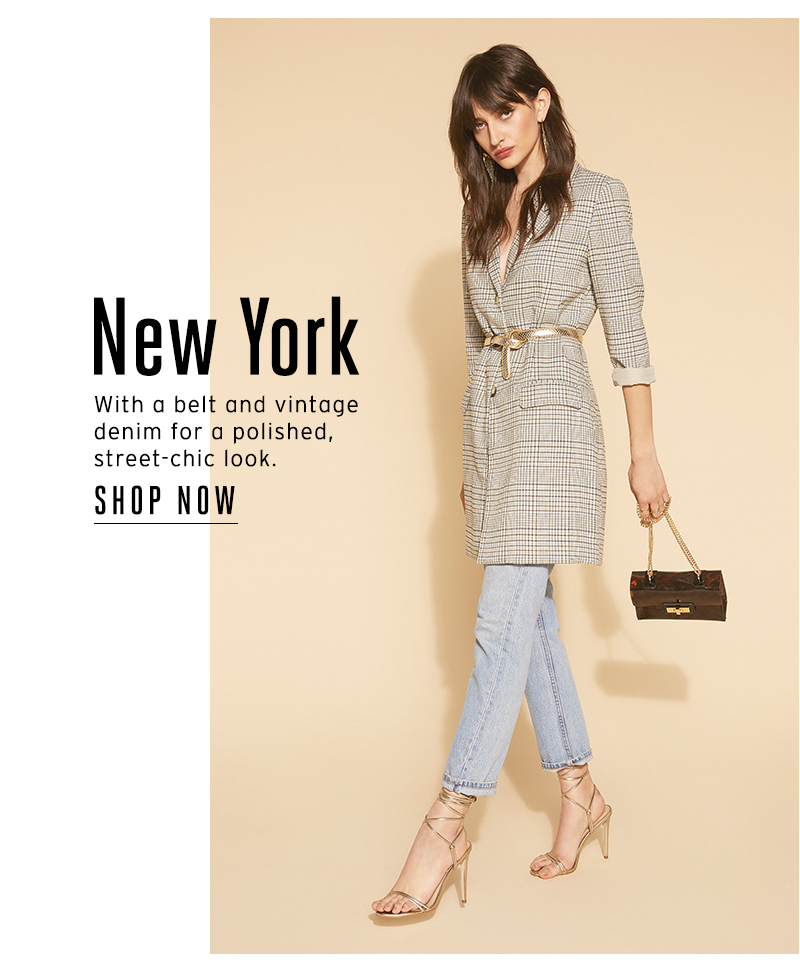 New York With a belt and vintage denim for a polished, street-chic look.