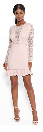 Long Sleeve Lace And Ponte Dress